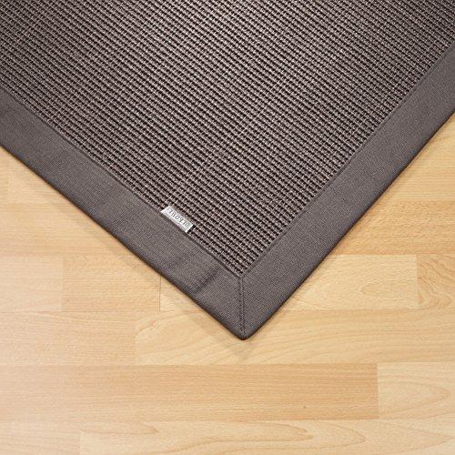 Sisal Teppich Bordürenteppich Naturfaser Läufer Flachgewebe grau anthrazit, verschiedene Größen, Variante: 80 x 250 cm
