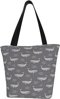 Lesif Einkaufstaschen, Wale auf dunkelgrauem Segeltuch, Einkaufstasche, wiederverwendbare faltbare Reisetasche, groß und langlebig, robuste Einkaufstaschen