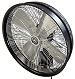HydroMist F10-14-006 24' Shrouded Outdoor Wall Mount Oscillating Fan, 3 Speed On Cord, 0.27 HP, 1.9 Amps, Black