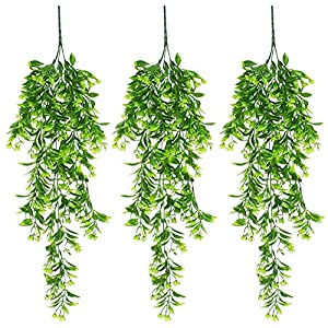 XONOR Artificial Hanging Plant Leaves Orchid Rattan Green Plant Orange Leaf Flowers for Home Garden Wall Decoration Decor (Green, Pack of 3)