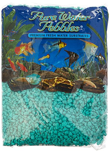 Pure Water Pebbles Aquarium Gravel, 5-Pound, Turquoise