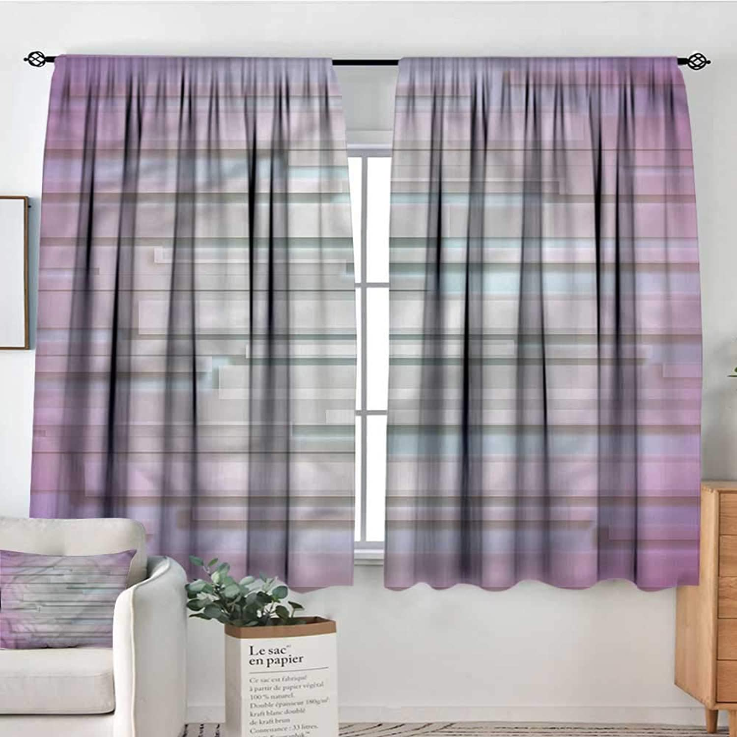 Sanring Minimalist,Rod Curtains Minimal Unusual Figures 52 x63  Backout Curtains for Kids Iving Room