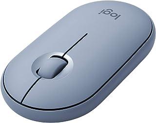 ロジクール ワイヤレスマウス 無線 マウス Pebble M350BL 薄型 静音 ブルー ワイヤレス 左右対称 windows mac Chrome Android Surface iPad OS M350 国内正規品 2年間無償保証