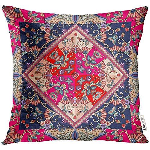 QDAS kussensloop, bloemenpatroon, betoverend, met vogels, mooi etnisch doekdesign, servetrand, decoratieve kussensloop