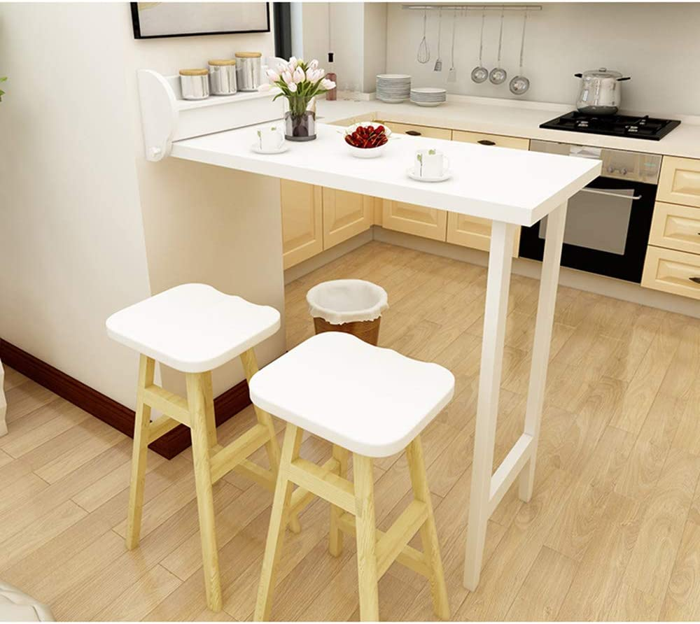 Koovin Wall Folding Solid Wood Folding Bar Table Multifunctional Leisure  Dining Table Perfect Addition For Living Room Kitchen