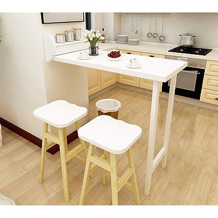 Table Murale Rabattables-Bois Massif, Table De Bar Pliable, Table À Manger De Loisir Multifonction, Complément Parfait pour Le Salon/La Cuisine