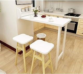 Table Murale Rabattables-Bois Massif, Table De Bar Pliable, Table À Manger De Loisir Multifonction, Complément Parfait pou...