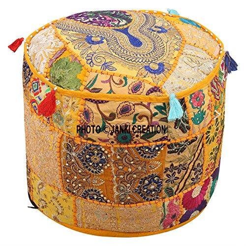 Janki Creation Indian Pouf Fußhocker Cover rund Patchwork Bestickt Pouf osmanischen Bezug gelb Baumwolle Floral Traditioneller (22 x 22 x 14) Bestickt osmanischen Hocker Pouf