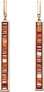 Rosemarie Collections Women's Statement Metal and Suede Orange Vertical Bar Necklace Earring Set