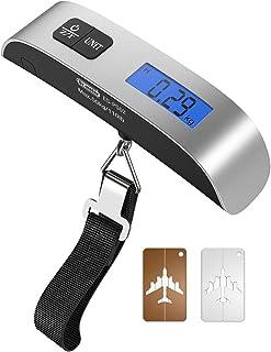 Báscula de Equipaje Balanza Digital y 2 x Etiquetas para Equipaje, Portátil 50kg Pantalla LCD Retroiluminada con Función d...