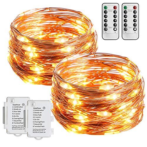 Starker 2 Stk 5M 50er LED Batterie Lichterkette, 8 Modi TIMER IP65 Wasserdicht Lichterketten,Fernbedienung Kupferdraht Lichterkette,für Innen und Außen dekoration,Hochzeiten und Partys