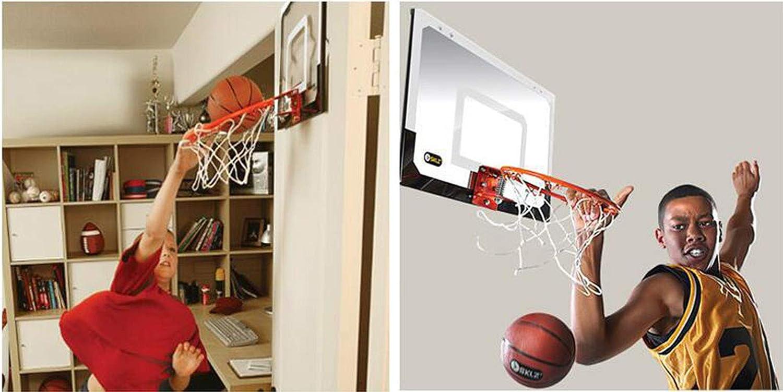 XJIANQI Kindermini-basketbalhoepel, jongens-slaapkamer, binnenvrij, geperforeerd transparant ophangbal sportpak zwart Zwart
