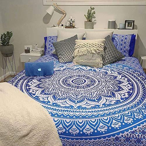The Art Box Wandteppich, Mandala, psychedelisch, indische Baumwolle, Tagesdecke, Picknickdecke, Wanddekoration, Decke Art Deco King (265 x 230 Cms / 104 x 90 Inches) blau/weiß