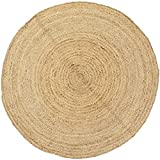 Handgewebter runder Jute Teppich 150 cm Teppich Abril Natur | Outdoor Teppiche Rund geflochten für...