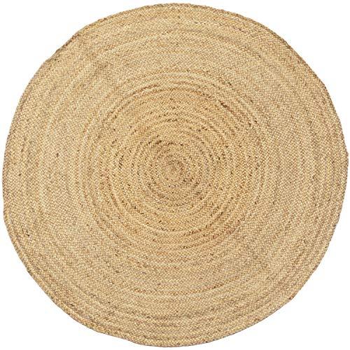 Handgewebter runder Jute Teppich 150 cm Teppich Abril Natur | Outdoor Teppiche Rund geflochten für Garten oder Balkon | Indoor im Wohnzimmer Kinderzimmer | Mediterrane Deko für Ihre Wohnung