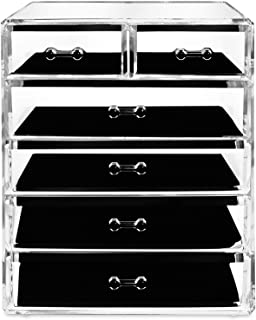 Makeup Organizer Jewelry Cosmetic Storage - Large Acrylic 6 Drawer Compartments Perfect to store your Accessories, Brushes...