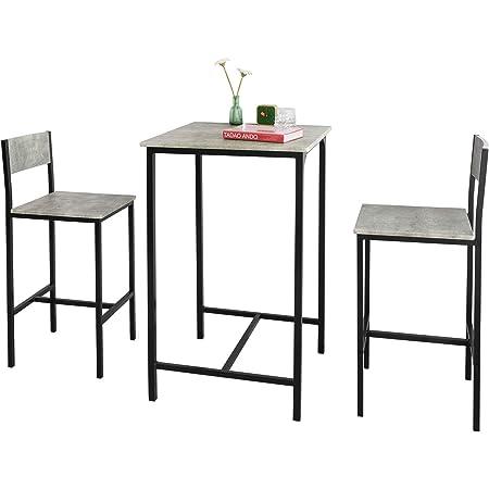 SoBuy OGT27-HG Ensemble Table de Bar + 2 Chaises de Bar Table Mange-Debout Table Haute Cuisine Set de Table + 2 Tabourets de Bar avec Repose-Pieds