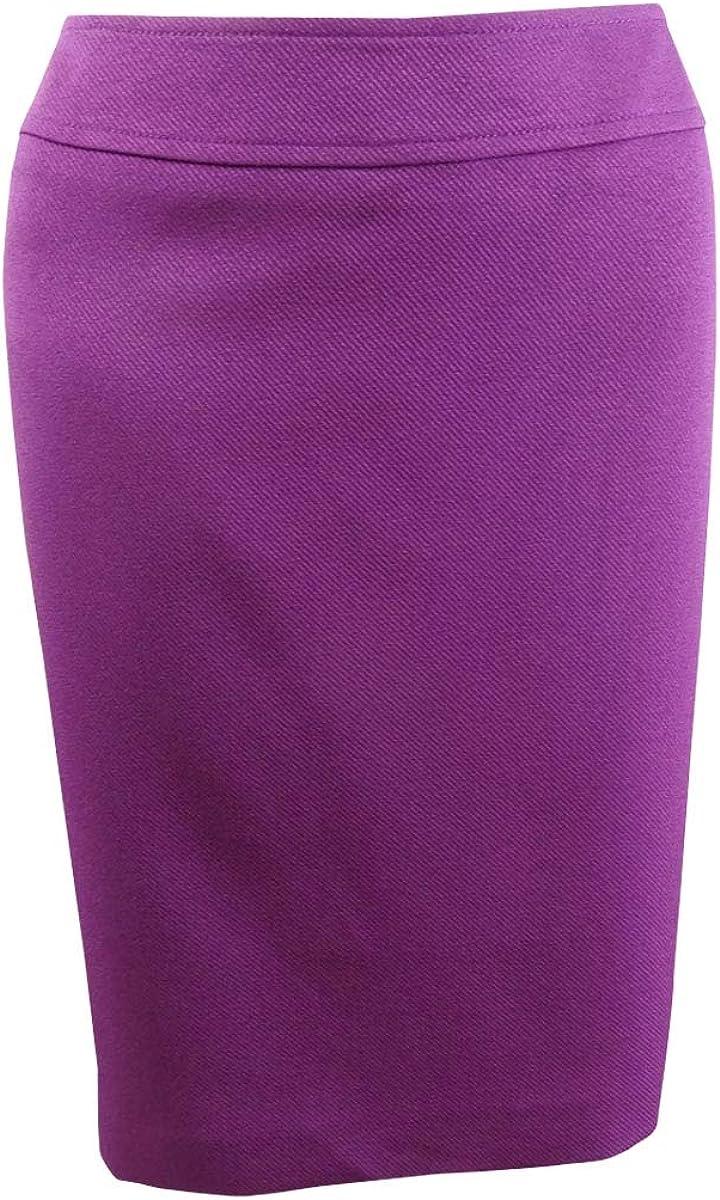 TAHARI ASL Women's Petite Wide-Waistband Pencil Skirt (8P, Magenta)