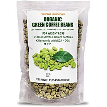 Perennial Lifesciences Organic Decaffeinated Green Coffee Beans For Weight Loss - 200 Gms