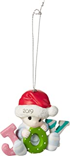 Precious Moments Baby's First Christmas 2019 Dated Bisque Porcelain Boy 191006 Ornament, One Size, Multi