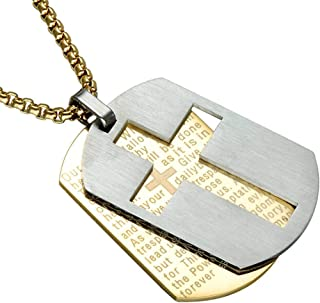 2 in 1 Religious Catholic Bible Verse Lord's Prayers Engraved Baptism Cross Pendant Stainless Steel Bible Verse Cross Army...