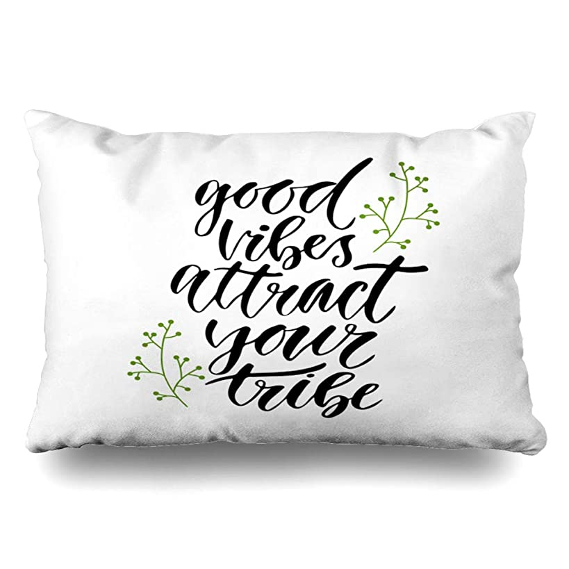 Ahawoso Throw Pillow Cover King 20x36 Inspiratispirational Artistic Good Vibes Attract Your Tribe Text Inspirational Black Blogging Cushion Case Home Decor Pillowcase