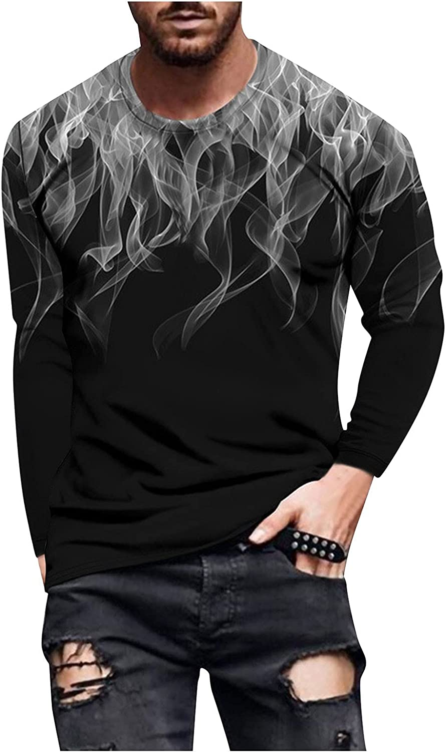 Aayomet Men's T Shirts Graphic Vintage Long Sleeve Slim Fit T-Shirt Casual Beach Sport Workout Athletic Tee Shirts Tops