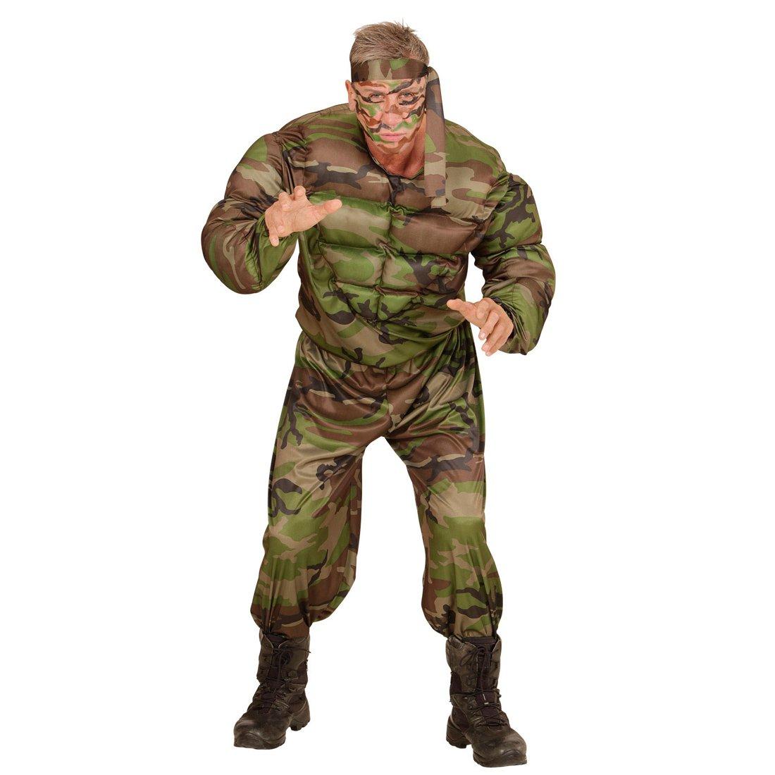 NET TOYS Disfraz Soldado musculoso Traje Hombre Militar L 52 Atuendo Fuerza Armada Vestimenta con músculos del ejército Outfit Guerrero Ropa varón Fuerzas Armadas: Amazon.es: Juguetes y juegos