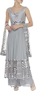 Pinkkart Grey Indian Handmade Collection Ethnic Sleeveless Lace Work Anarkali Suit Garara Bottom Four Sided Lace Dupatta Bespoke Gota Patti Work 108okh …