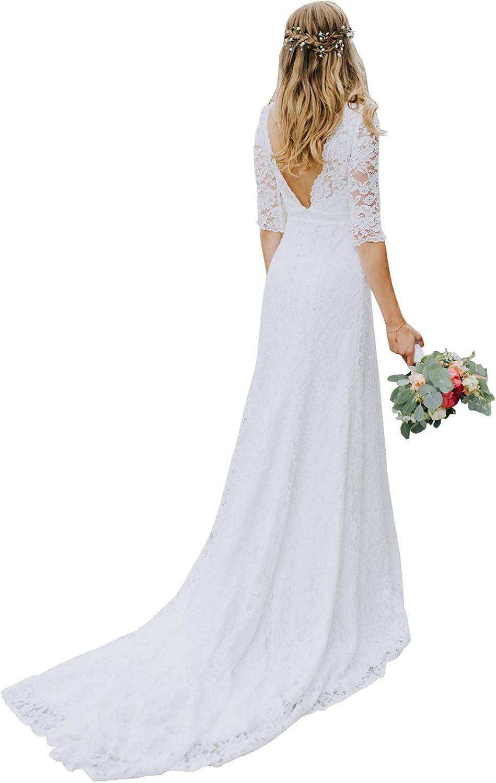 Women's Double V-Neck Lace Wedding Dress 3/4 Sleeves Backless Long Boho Wedding Bridal Gown