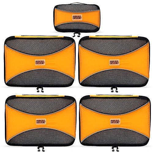 PRO Packing Cubes | Set Convenienza 5 Pezzi Packing Cube da viaggio | Risparmio dello spazio in valigia del 30% | Organizer ultra leggeri per bagagli | Ottimi per borsoni, bagagli a mano e zaini