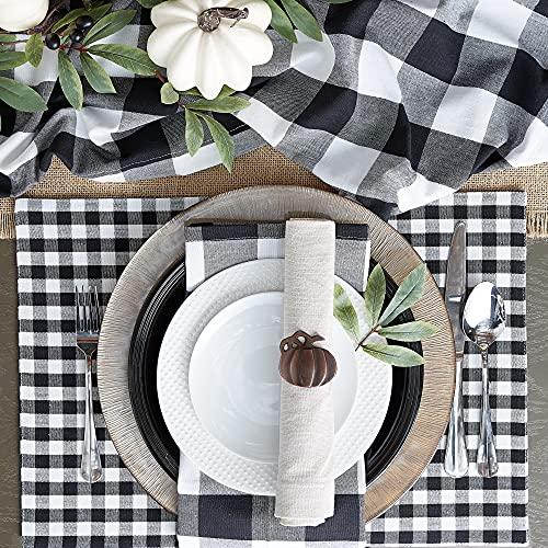 DII Buffalo Check Collection, Classic Farmhouse Table Runner, 14x72', Black & White