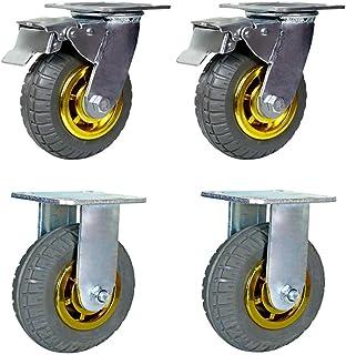 WaiMin Draaibare wielen, zwarte universele rubberen wielen, platte zware industriële wielen, meubelwielen 18cm-23cm, stil/...