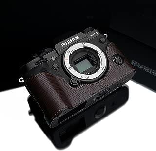 Gariz BL-XT2ABR Black Label Genuine Leather Camera Metal Half Case for Fuji Fujifilm X-T2 XT2 / XT3, Brown