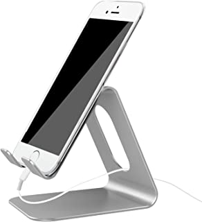 Cell Phone Stand, Ifecco Mobile Phone Holder Compatible with Tablet All Android Smartphones (Upgrade Silver)