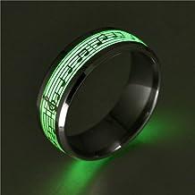 Mode Ringen Voor Vrouwen Man Rvs Pianomuziek LichtgevendeExplosie Muzieknoot Fluorescentie Accessoires