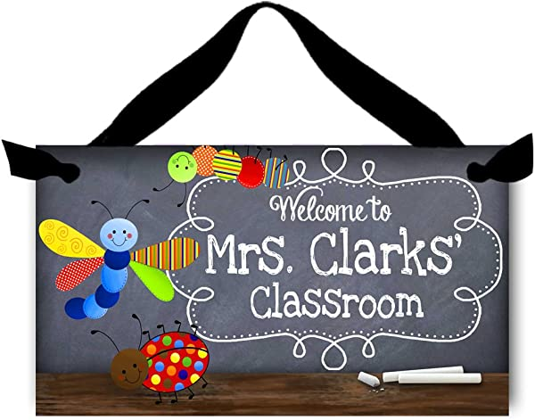 Toad And Lily Teacher Chalkboard Classroom Little Bug Door Sign Teacher End Of Year Gift TDS026