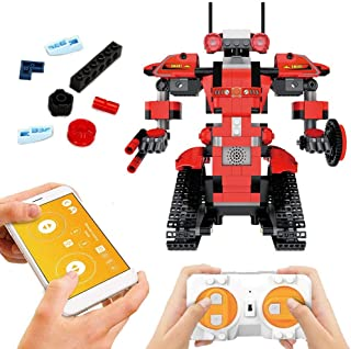 Remote Control Building Block Robot, App Controlled Educational Electric RC Robot Bricks STEM Toys with LED Intelligent Charging Gift for Boys Girls Age of 6,7,8,9-14 Year Old(Red)