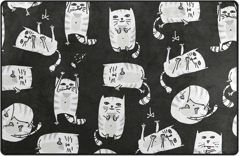 DEZIRO Cute Fat Kitty Floor mats for Home Entry Way Area Rug Doormat Carpet shoes Scraper Anti-Slip Washable