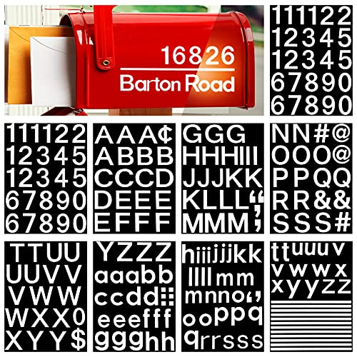 9 Sheets 1 Inch Mailbox Number Address Stickers Reflective Vinyl Number Sticker Self Adhesive Letter Sticker Capital Lowercase Number Decal for House Sign Window Door Address Number (Regular Typeface)