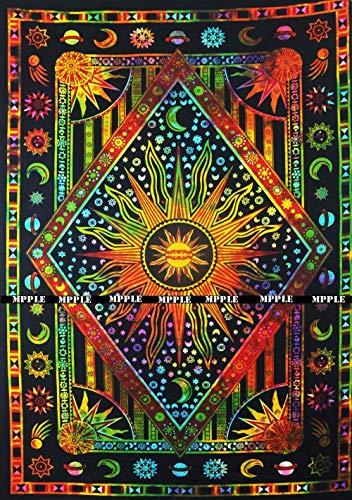N\A Jaipur Handloom Colorful Tie Dye Tapiz de Sol ardiente púrpura, Celestial Sun Moon Planet Tapiz Bohemio Tapiz Tapiz Boho Tapiz Hippie Hippy Tapiz de Playa Cobertor de Playa