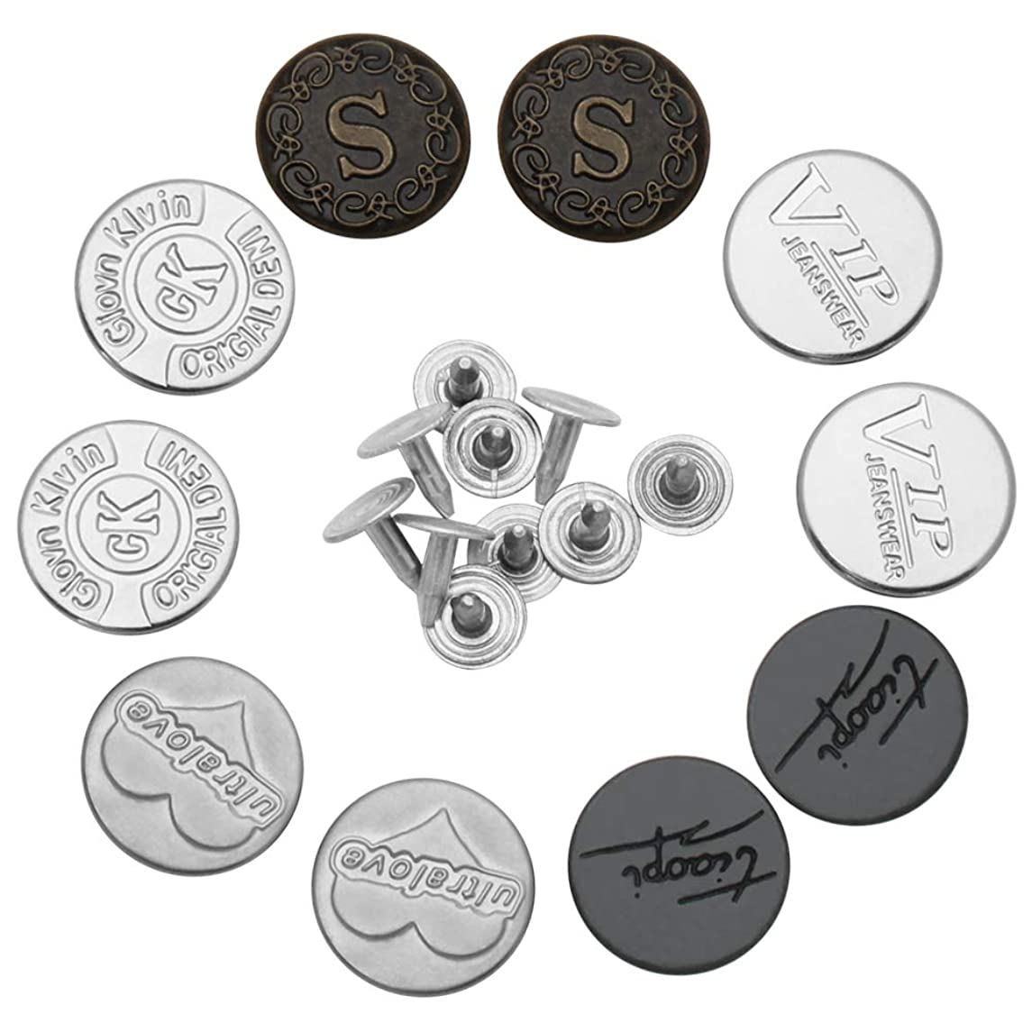 Metal Replacement Buttons for Jeans, Luxiv Jean No-Sew Tack Buttons for Leather 10 Sets 17mm Denim Women and Men Jeans Metal Replacement Buttons Kit with Rivet Buttons for Jeans, Bags, Clothes (17mm)