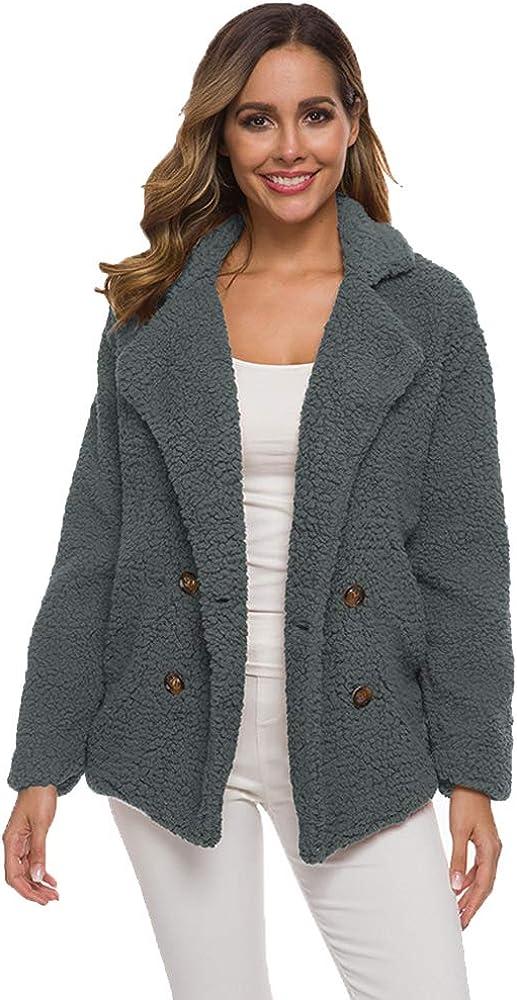 BOZEVON Womens Open Front Coats - Faux Shearling Shaggy Oversized Sherpa Jacket