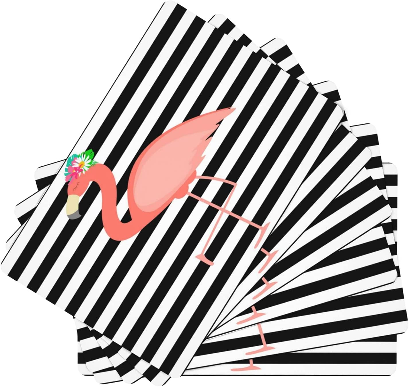 Cute Pink Animer and price revision Flamingo Leather Placemat Sale price for Slip Non Ki
