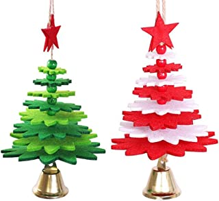 2 pcs Christmas Tree Pendant Accessories Non-Woven DIY Wind Chimes Wind Bell Hanging Ornament Decoration for Home Hotel Party Decor
