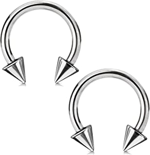 BodyJ4You 2PCS Horseshoe Circular Barbell Stainless Steel 00G-18G CBR Nose Nipple Tragus Lip Body Piercing