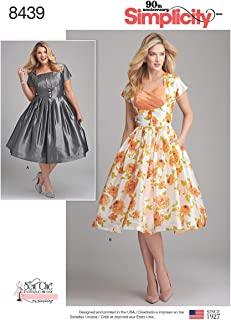 Simplicity Pattern 8439 AA Misses'/Women's Dress with Bodice Variations by Sew Chic, Size 10-18