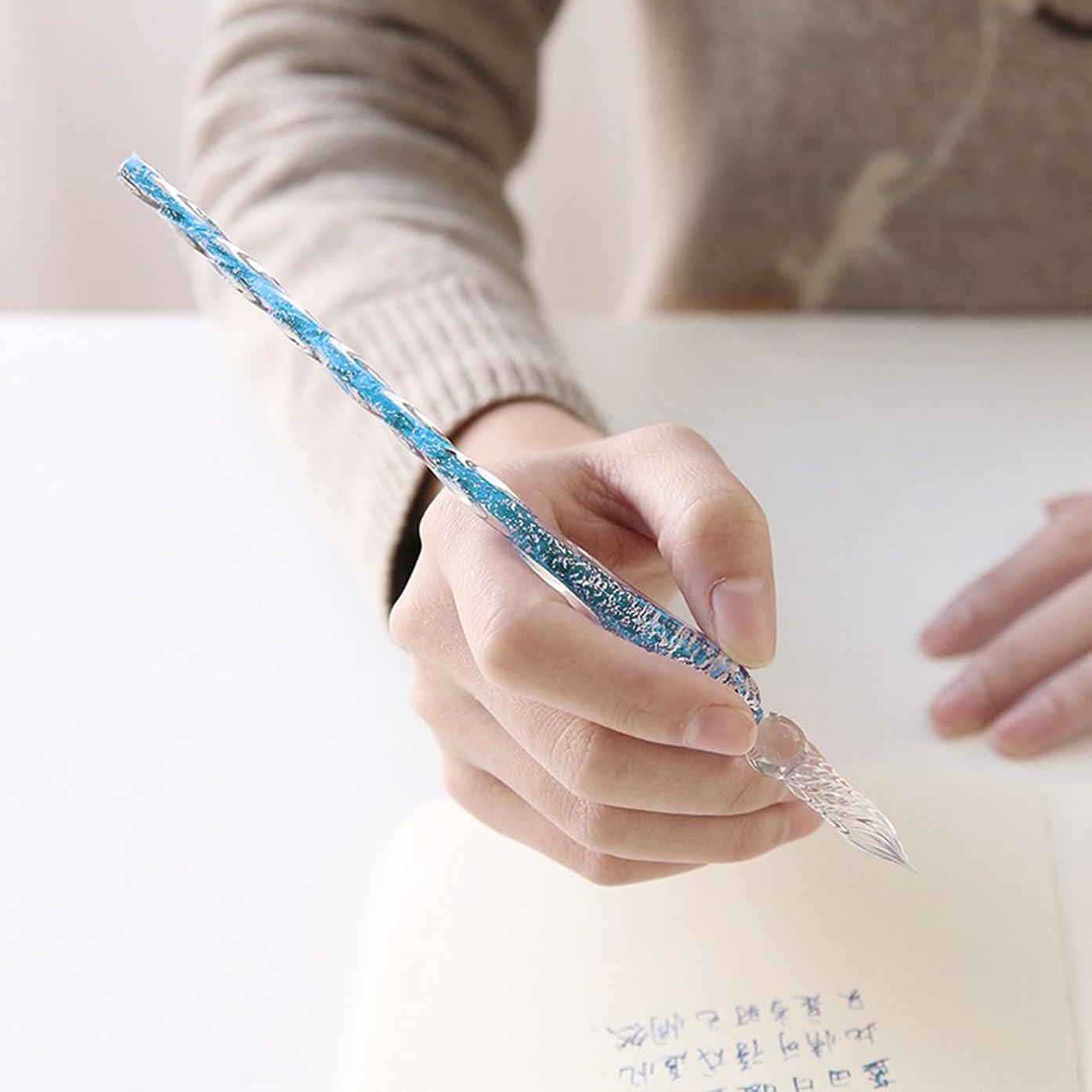 Crystal Glass Dip Pen Glass Signature Pen Vintage Handmade Glass Elegant Crystal Dip Sign Gift Pen,Gift Package (Deep Blue)