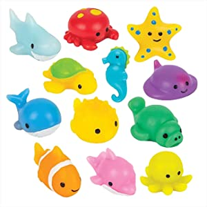 Curious Minds Busy Bags Set of 12 Ocean Sea Animal Mochi Squishy - Adorable Cute Kawaii - Individually Wrapped Toys - Sensory, Stress, Fidget Party Favor Toy (Set of 12 (1 Dozen))