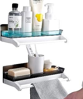 Laigoo 2 Pack Adhesive Bathroom Shelves with Towel Bar, Shower Shelves, No Drilling Wall Mounted Floating Shelves Bathroom...